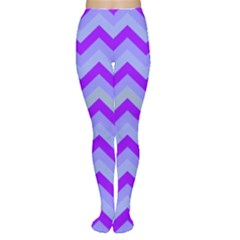 Chevron Blue Women s Tights by ImpressiveMoments