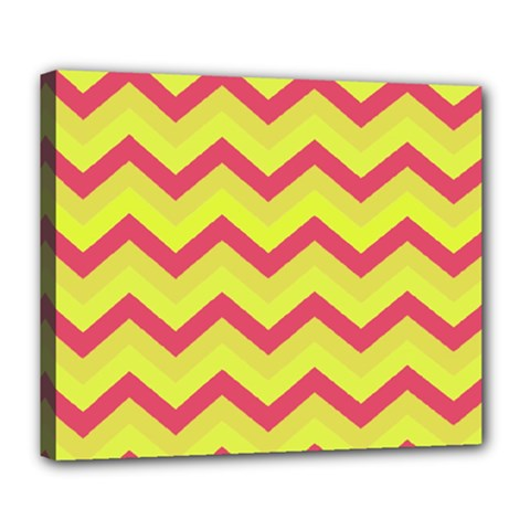 Chevron Yellow Pink Deluxe Canvas 24  X 20   by ImpressiveMoments