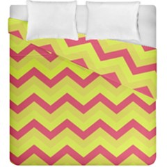 Chevron Yellow Pink Duvet Cover (king Size)