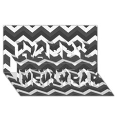 Chevron Dark Gray Happy New Year 3d Greeting Card (8x4)  by ImpressiveMoments