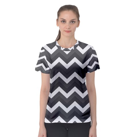 Chevron Dark Gray Women s Sport Mesh Tees by ImpressiveMoments
