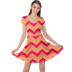 Chevron Peach Cap Sleeve Dresses