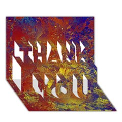 Abstract In Gold, Blue, And Red Thank You 3d Greeting Card (7x5)  by digitaldivadesigns