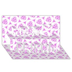 Sweet Doodle Pattern Pink Best Friends 3d Greeting Card (8x4)