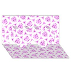 Sweet Doodle Pattern Pink Twin Hearts 3d Greeting Card (8x4)  by ImpressiveMoments