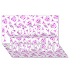 Sweet Doodle Pattern Pink Happy New Year 3d Greeting Card (8x4)