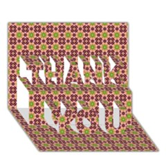 Cute Seamless Tile Pattern Gifts Thank You 3d Greeting Card (7x5)  by creativemom