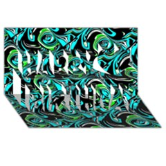 Bright Aqua, Black, And Green Design Happy Birthday 3d Greeting Card (8x4)  by digitaldivadesigns