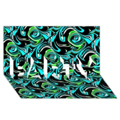 Bright Aqua, Black, And Green Design Party 3d Greeting Card (8x4)  by digitaldivadesigns