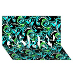Bright Aqua, Black, And Green Design Sorry 3d Greeting Card (8x4)  by digitaldivadesigns