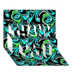 Bright Aqua, Black, And Green Design Thank You 3d Greeting Card (7x5)  by digitaldivadesigns