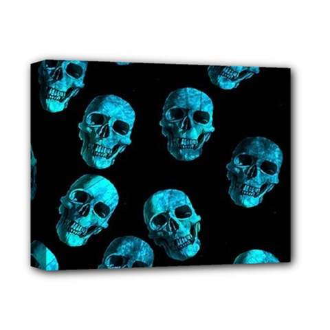 Skulls Blue Deluxe Canvas 14  X 11  by ImpressiveMoments