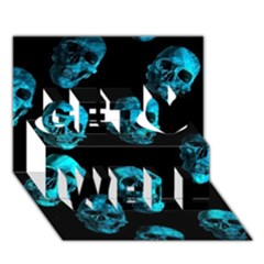 Skulls Blue Get Well 3d Greeting Card (7x5)