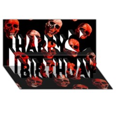 Skulls Red Happy Birthday 3D Greeting Card (8x4)