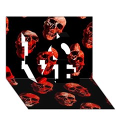 Skulls Red Love 3d Greeting Card (7x5)  by ImpressiveMoments