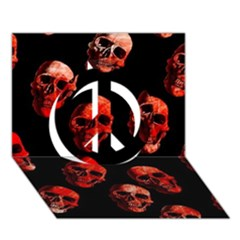 Skulls Red Peace Sign 3D Greeting Card (7x5)