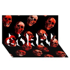 Skulls Red SORRY 3D Greeting Card (8x4)