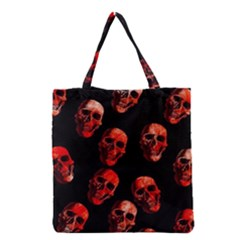 Skulls Red Grocery Tote Bags