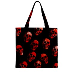 Skulls Red Zipper Grocery Tote Bags