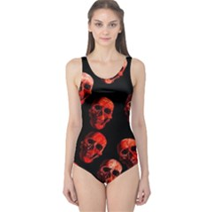 Skulls Red Women s One Piece Swimsuits