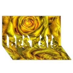 Gorgeous Roses, Yellow  Best Sis 3d Greeting Card (8x4)