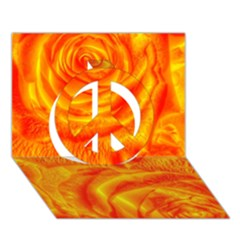 Gorgeous Roses, Orange Peace Sign 3d Greeting Card (7x5)  by MoreColorsinLife