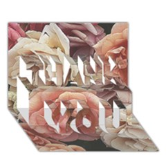 Great Garden Roses, Vintage Look  Thank You 3d Greeting Card (7x5)