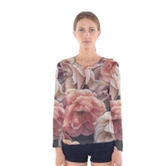 Great Garden Roses, Vintage Look  Women s Long Sleeve T Shirts