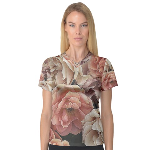 Great Garden Roses, Vintage Look  Women s V-neck Sport Mesh Tee by MoreColorsinLife