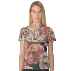 Great Garden Roses, Vintage Look  Women s V Neck Sport Mesh Tee by MoreColorsinLife