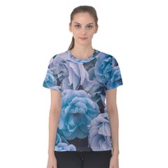 Great Garden Roses Blue Women s Cotton Tees by MoreColorsinLife