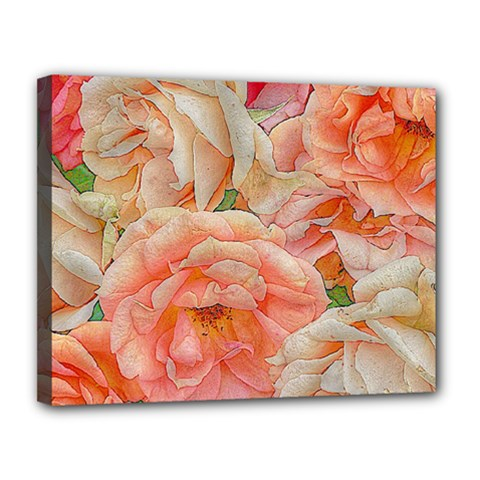 Great Garden Roses, Orange Canvas 14  X 11  by MoreColorsinLife