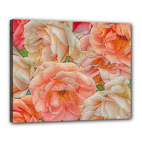 Great Garden Roses, Orange Canvas 20  X 16