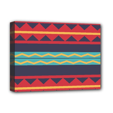 Rhombus And Waves Chains Pattern Deluxe Canvas 16  X 12  (stretched)  by LalyLauraFLM