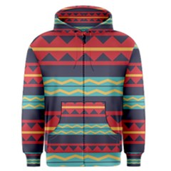 Rhombus And Waves Chains Pattern Men s Zipper Hoodie by LalyLauraFLM