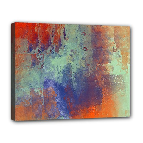 Abstract In Green, Orange, And Blue Canvas 14  X 11  by digitaldivadesigns