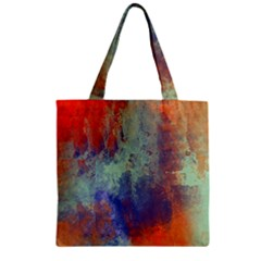 Abstract In Green, Orange, And Blue Zipper Grocery Tote Bags by digitaldivadesigns