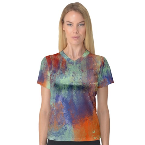 Abstract In Green, Orange, And Blue Women s V-neck Sport Mesh Tee by digitaldivadesigns