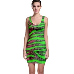 Florescent Green Zebra Print Abstract  Bodycon Dresses by OCDesignss