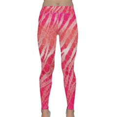 Florescent Pink Zebra Pattern  Yoga Leggings by OCDesignss