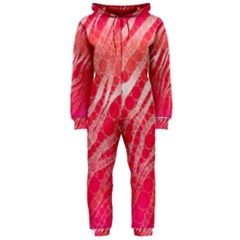Florescent Pink Zebra Pattern  Hooded Jumpsuit (ladies)