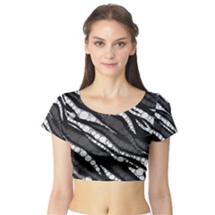 Black&white Zebra Abstract  Short Sleeve Crop Top by OCDesignss