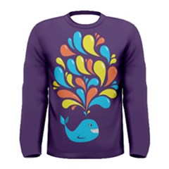 Colorful Happy Whale Men s Long Sleeve T Shirt by CreaturesStore