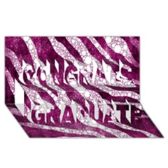 Purple Zebra Print Bling Pattern  Congrats Graduate 3d Greeting Card (8x4)