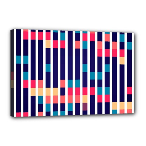Stripes And Rectangles Pattern Canvas 18  X 12  (stretched) by LalyLauraFLM
