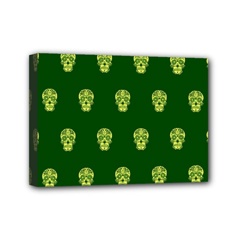 Skull Pattern Green Mini Canvas 7  X 5  by MoreColorsinLife