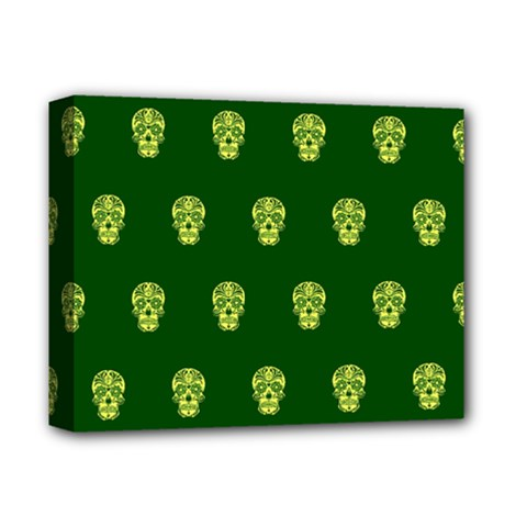 Skull Pattern Green Deluxe Canvas 14  X 11  by MoreColorsinLife