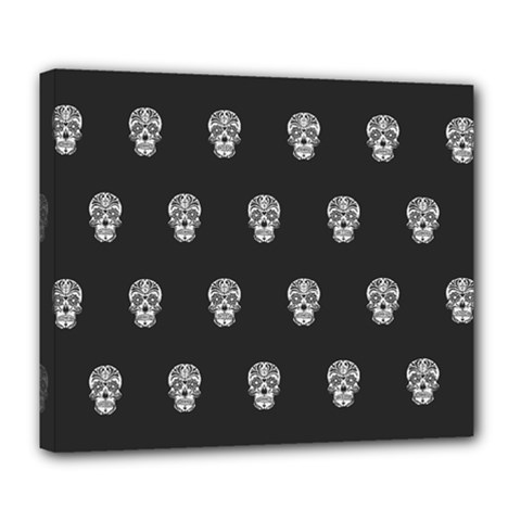 Skull Pattern Bw  Deluxe Canvas 24  X 20
