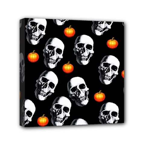 Skulls And Pumpkins Mini Canvas 6  X 6  by MoreColorsinLife