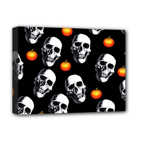 Skulls And Pumpkins Deluxe Canvas 16  X 12   by MoreColorsinLife